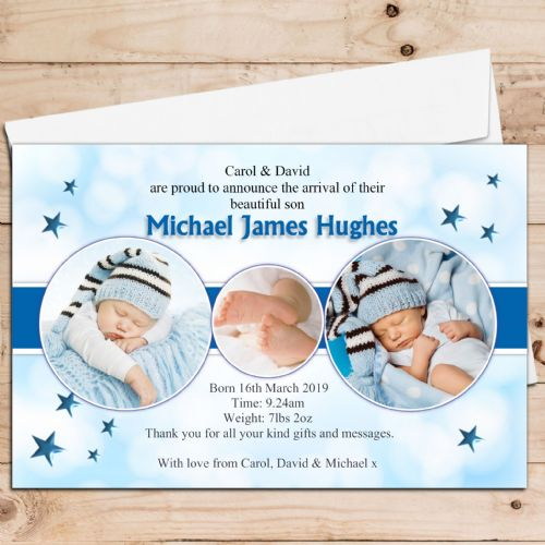 10 Personalised Baby Boy Birth Announcement Thank You PHOTO cards N43